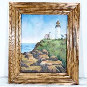 Lighthouse Picture With Wood Frame 8x10